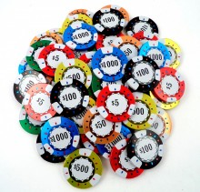 Chocolate Poker Chips  $5 Red, $25 Green, $50 Orange, $100 Black, $500 Yellow, $1000 Blue
